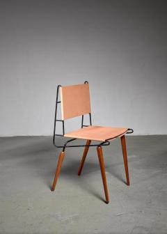 Allan Gould Allan Gould Minimalist Leather and Iron Chair USA 1950s - 1066166