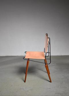 Allan Gould Allan Gould Minimalist Leather and Iron Chair USA 1950s - 1066167