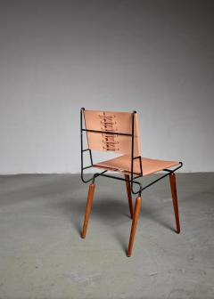 Allan Gould Allan Gould Minimalist Leather and Iron Chair USA 1950s - 1066168