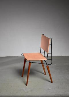 Allan Gould Allan Gould Minimalist Leather and Iron Chair USA 1950s - 1066169