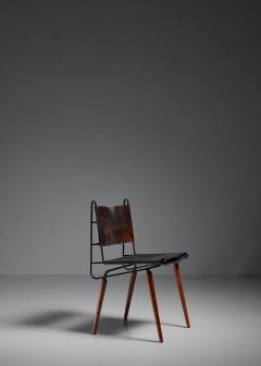 Allan Gould Allan Gould leather iron and wood chair USA 1950s - 834860