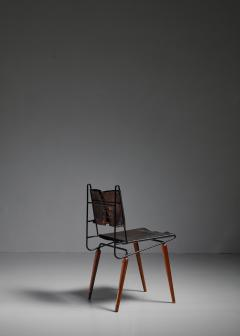 Allan Gould Allan Gould leather iron and wood chair USA 1950s - 834862