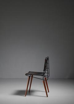Allan Gould Allan Gould leather iron and wood chair USA 1950s - 834863