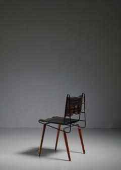 Allan Gould Allan Gould leather iron and wood chair USA 1950s - 834864