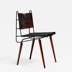 Allan Gould Allan Gould leather iron and wood chair USA 1950s - 836052