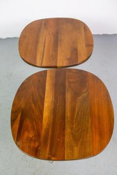 Allan Gould Pair of Elegant Side Tables in Brass and Wood by Allan Gould - 1011505