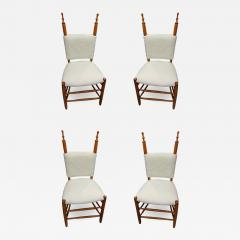 Alp style charming set of 4 chairs covered in wool faux fur - 1468643