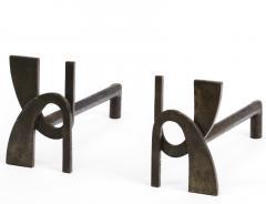 Alpha shaped stunning pair of wrought iron andirons - 1650590