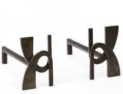 Alpha shaped stunning pair of wrought iron andirons - 1650591