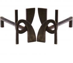 Alpha shaped stunning pair of wrought iron andirons - 1650592
