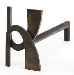 Alpha shaped stunning pair of wrought iron andirons - 1650595