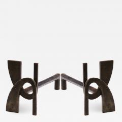 Alpha shaped stunning pair of wrought iron andirons - 1650896