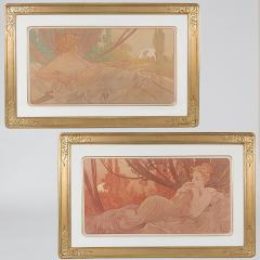 Alphonse Maria Mucha Pair of French Art Nouveau Lithographs Dawn and Dusk by Alphonse Mucha - 678861
