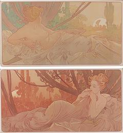 Alphonse Maria Mucha Pair of French Art Nouveau Lithographs Dawn and Dusk by Alphonse Mucha - 679216