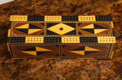 Amazing Marquetry Decorated Cribbage Board and Box - 297124