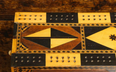 Amazing Marquetry Decorated Cribbage Board and Box - 297125