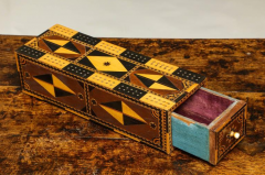Amazing Marquetry Decorated Cribbage Board and Box - 297126