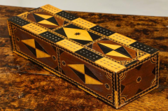 Amazing Marquetry Decorated Cribbage Board and Box - 297127