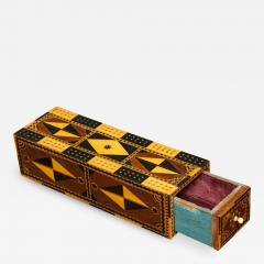 Amazing Marquetry Decorated Cribbage Board and Box - 297364
