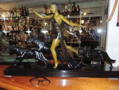 Amelia Cate De LaTour Art Deco Sculpture of a Woman with Three Dogs by A DeLatour - 319304
