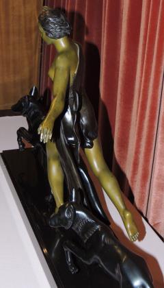 Amelia Cate De LaTour Art Deco Sculpture of a Woman with Three Dogs by A DeLatour - 319305
