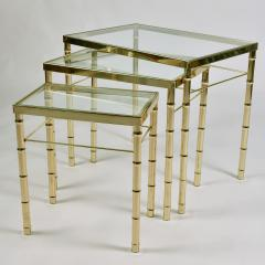 American 1960s nest of three brass tables - 1463846