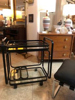 American 1970s Black Metal Drinks Bar Cart with Glass Shelves - 1684072
