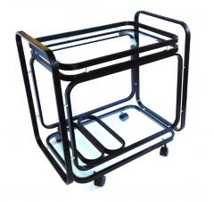 American 1970s Black Metal Drinks Bar Cart with Glass Shelves - 1684075