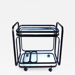 American 1970s Black Metal Drinks Bar Cart with Glass Shelves - 1685049