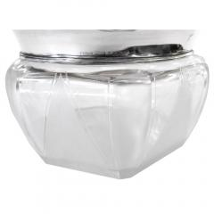 American Art Deco Sterling Glass Enamel Covered Crystal Container - 189036