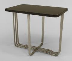 American Art Moderne Chrome Base Low End Table with Rectangular Ebonized Top - 436374