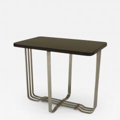 American Art Moderne Chrome Base Low End Table with Rectangular Ebonized Top - 439529