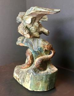 American Eagle and Rattlesnake Patriotic Folk Art Wood Carving circa 1900 - 759249