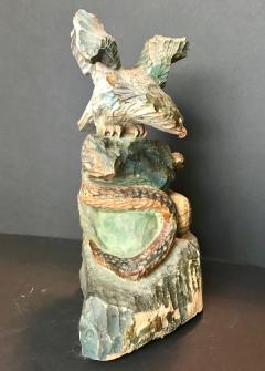 American Eagle and Rattlesnake Patriotic Folk Art Wood Carving circa 1900 - 759256