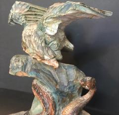 American Eagle and Rattlesnake Patriotic Folk Art Wood Carving circa 1900 - 759258