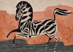 American Hooked Rug Depicting a Zebra - 1847812