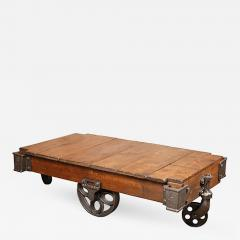 American Made Vintage Industrial Factory Lineberry Cart Coffee Table