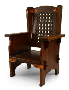 American Mission Leather and Oak Wing Chair - 1424713