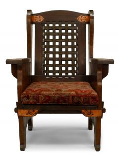 American Mission Leather and Oak Wing Chair - 1424716