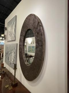American Modern Brown and Silver Metallic Leather Oval Mirror - 2098342