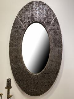 American Modern Brown and Silver Metallic Leather Oval Mirror - 2098344