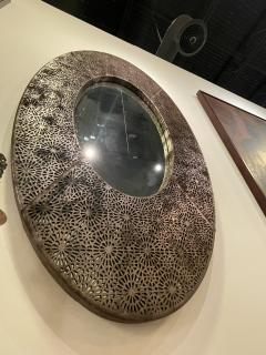 American Modern Brown and Silver Metallic Leather Oval Mirror - 2098355