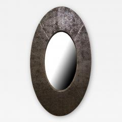American Modern Brown and Silver Metallic Leather Oval Mirror - 2099620