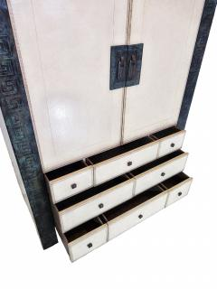 American Modern Parchment Leather Bronze Dry Bar Cabinet Maitland Smith - 711932