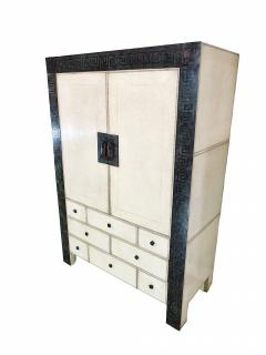 American Modern Parchment Leather Bronze Dry Bar Cabinet Maitland Smith - 712221