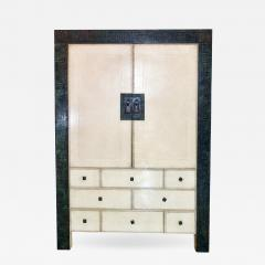 American Modern Parchment Leather Bronze Dry Bar Cabinet Maitland Smith - 714796
