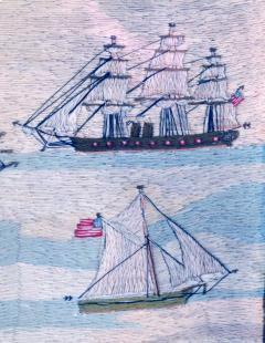 American Sailors Woolwork Depicting Ten Naval Vessels - 1728017