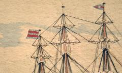 American Sailors Woolwork Depicting Ten Naval Vessels - 1728022