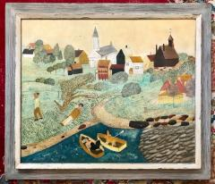American School Early 20th Century New England Landscape Folk Art Painting - 748952