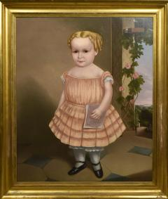 American School Portrait of Golden Haired Child with Ringlets - 1392535